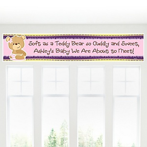 Baby Girl Teddy Bear - Personalized Baby Shower Banners