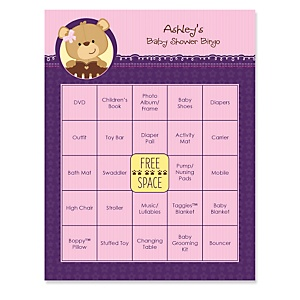 Baby Girl Teddy Bear - Bingo Personalized Baby Shower Games - 16 Count