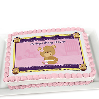 baby girl teddy bear personalized baby shower cake topper