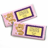 Baby Girl Teddy Bear - Personalized Baby Shower Candy Bar Wrapper