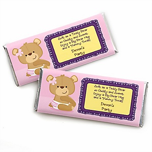 Baby Girl Teddy Bear - Personalized Baby Shower Candy Bar Wrapper Favors