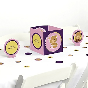Baby Girl Teddy Bear - Baby Shower Centerpiece & Table Decoration Kit