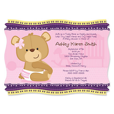 Baby Girl Teddy Bear - Baby Shower Invitations With Squiggle Shape Baby Shower Party Supplies