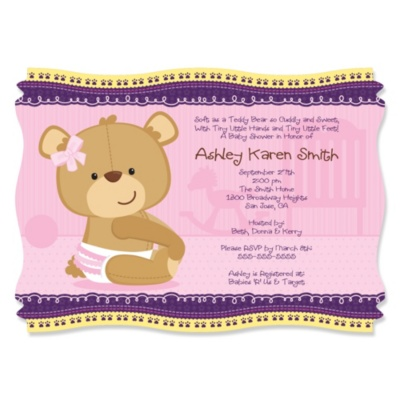 Baby Girl Teddy Bear -  Personalized Baby Shower Invitations