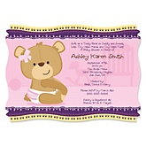 Baby Girl Teddy Bear - Baby Shower Invitations