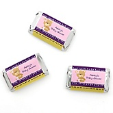 Baby Girl Teddy Bear - Personalized Baby Shower Mini Candy Bar Wrapper Favors - 20 ct