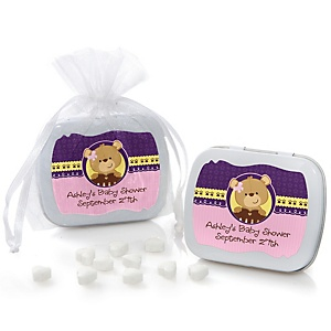 Baby Girl Teddy Bear - Personalized Baby Shower Mint Tin Favors