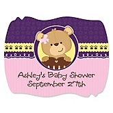 Baby Girl Teddy Bear - Personalized Baby Shower Squiggle Sticker Labels - 16 Count