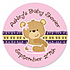 Baby Girl Teddy Bear - Personalized Baby Shower Sticker Labels - 24 ct
