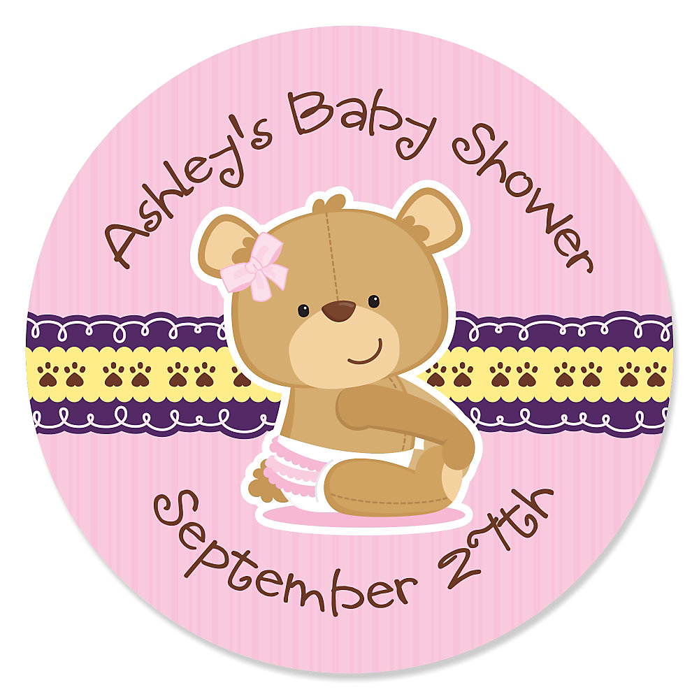 More Views. Baby Girl Teddy Bear   Personalized Baby Shower Sticker ...