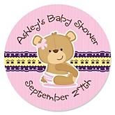 Baby Girl Teddy Bear - Personalized Baby Shower Round Sticker Labels - 24 Count
