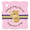 Baby Girl Teddy Bear - Personalized Baby Shower Tags - 20 ct