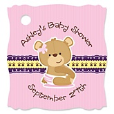 Baby Girl Teddy Bear - Personalized Baby Shower Tags - 20 Count