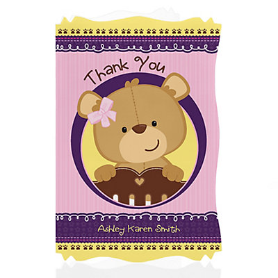 Baby Girl Teddy Bear - Personalized Baby Shower Thank You CardsBaby Girl Teddy Bear
