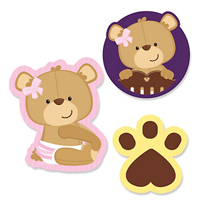 Baby Girl Teddy Bear   Shaped Party Paper Cut Outs   24 Ct
