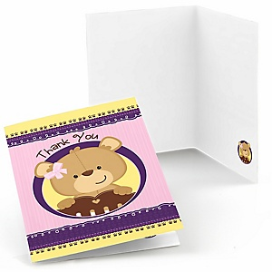 Baby Girl Teddy Bear - Party Thank You Cards - 8 ct