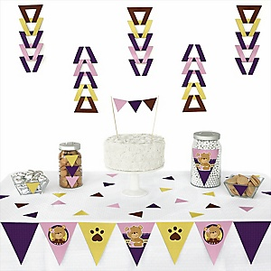 Baby Girl Teddy Bear - 72 Piece Triangle Party Decoration Kit