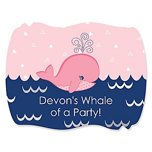 Tale Of A Girl Whale - Personalized Party Squiggle Stickers - 16 ct