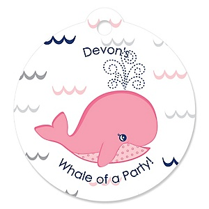 Tale Of A Girl Whale - Personalized Baby Shower Round Tags - 20 Count