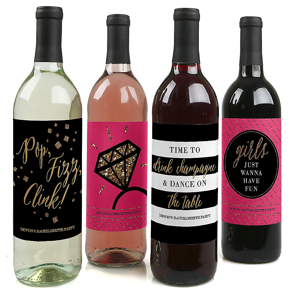 Diy Wine Bottle Labels Girls Night Out Bachelorette Party Wine Bottle Label Stickers