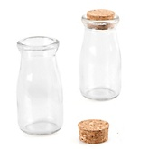 Empty Glass Cork Top Milk Bottle Jar - Fillable Baby Shower Favor Container