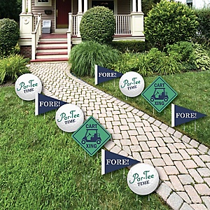 Par-Tee Time - Golf - Lawn Decorations - Outdoor Retirement, Baby Shower or Birthday Party Yard Decorations - 10 Piece