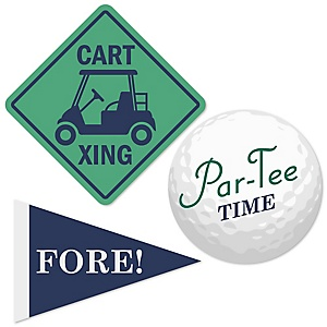 Par-Tee Time - Golf - Shaped Baby Shower Paper Cut-Outs - 24 Count