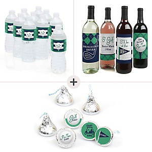 Par-Tee Time - Golf - Birthday or Retirement Party Decorations & Favors Kit – Wine, Water and Candy Labels Trio Sticker Set