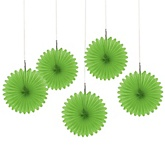 Green Mini Paper Rosette Fans - Baby Shower Decorations - Set of 5