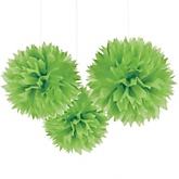 Green Tissue Paper Pom Poms - Baby Shower Decorations - Set of 3