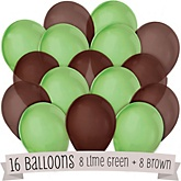Brown and Lime Green - Baby Shower Latex Balloons - 16 ct