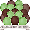 Brown and Lime Green - Birthday Party Latex Balloons - 16 ct