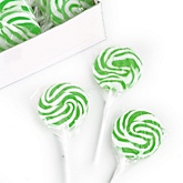 Green Apple Swirl Lollipops - Baby Shower Candy - 24 Count