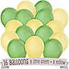Lime Green and Yellow - Birthday Party Latex Balloons - 16 ct