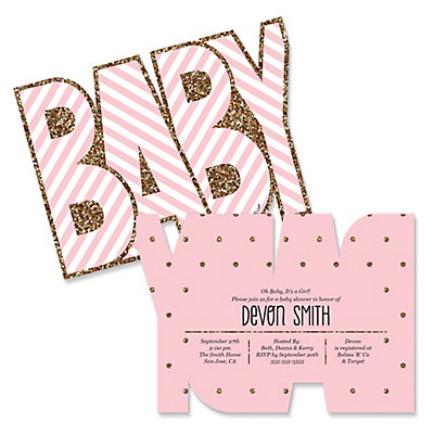 hello little one pink and gold shaped girl baby shower invitations