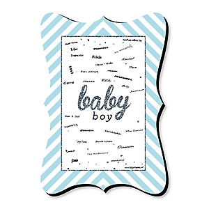Hello Little One - Blue and Silver - Unique Alternative Guest Book - Boy Baby Shower Signature Mat
