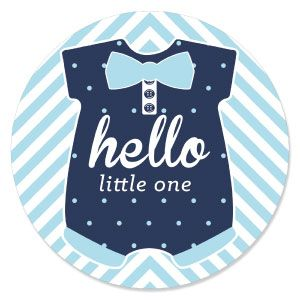 Hello Little One   Blue And Silver   Boy Baby Shower Theme