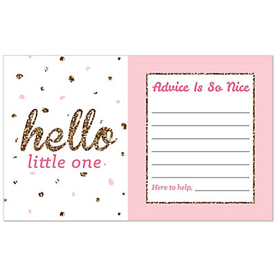 Charming Hello Little One   Pink And Gold   Girl Baby Shower Helpful Hint Advice  Cards   18 Ct.