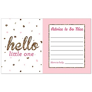 Hello Little One - Pink and Gold - Girl Baby Shower Helpful Hint Advice Cards - 18 ct.