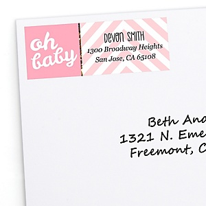 Hello Little One - Pink and Gold - Personalized Girl Baby Shower Return Address Labels - 30 ct