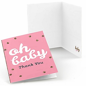 Hello Little One - Pink and Gold - Girl Baby Shower Thank You Cards - 8 ct