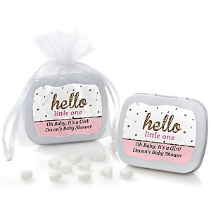 Hello Little One - Pink and Gold - Personalized Girl Baby Shower Mint Tin Favors