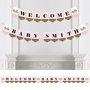 Hello Little One – Pink and Gold - Personalized Girl Baby Shower Bunting Banner