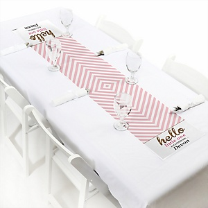 Hello Little One - Pink and Gold - Personalized Girl Baby Shower Petite Table Runner