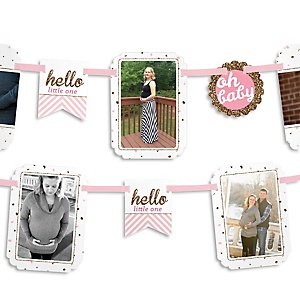 Hello Little One - Pink and Gold - Girl Baby Shower Photo Garland Banners