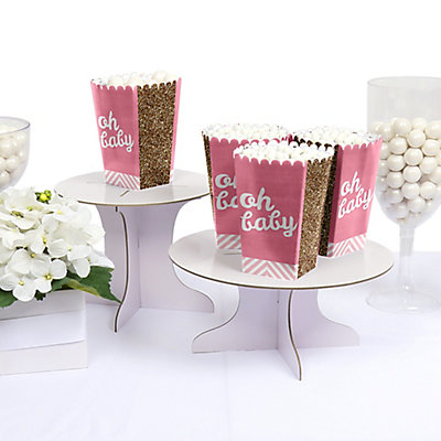 Pink and Gold Personalized Hello World Baby Shower Popcorn Favor Boxes
