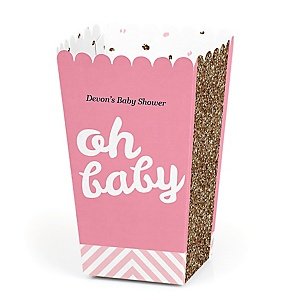 Hello Little One - Pink and Gold - Personalized Girl Baby Shower Popcorn Favor Boxes