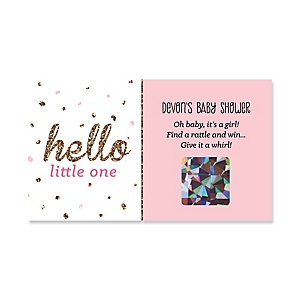 Hello Little One - Pink and Gold - Personalized Girl Baby Shower Game Scratch Off Cards - 22 ct