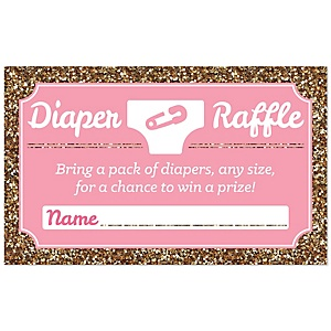 Hello Little One - Pink and Gold - Diaper Raffle Girl Baby Shower Game - 18 ct