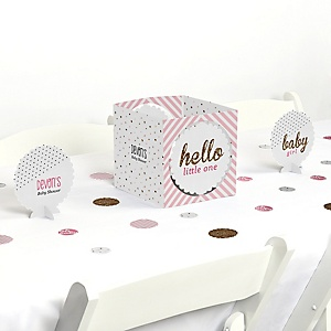 Hello Little One - Pink and Gold - Girl Baby Shower Centerpiece & Table Decoration Kit